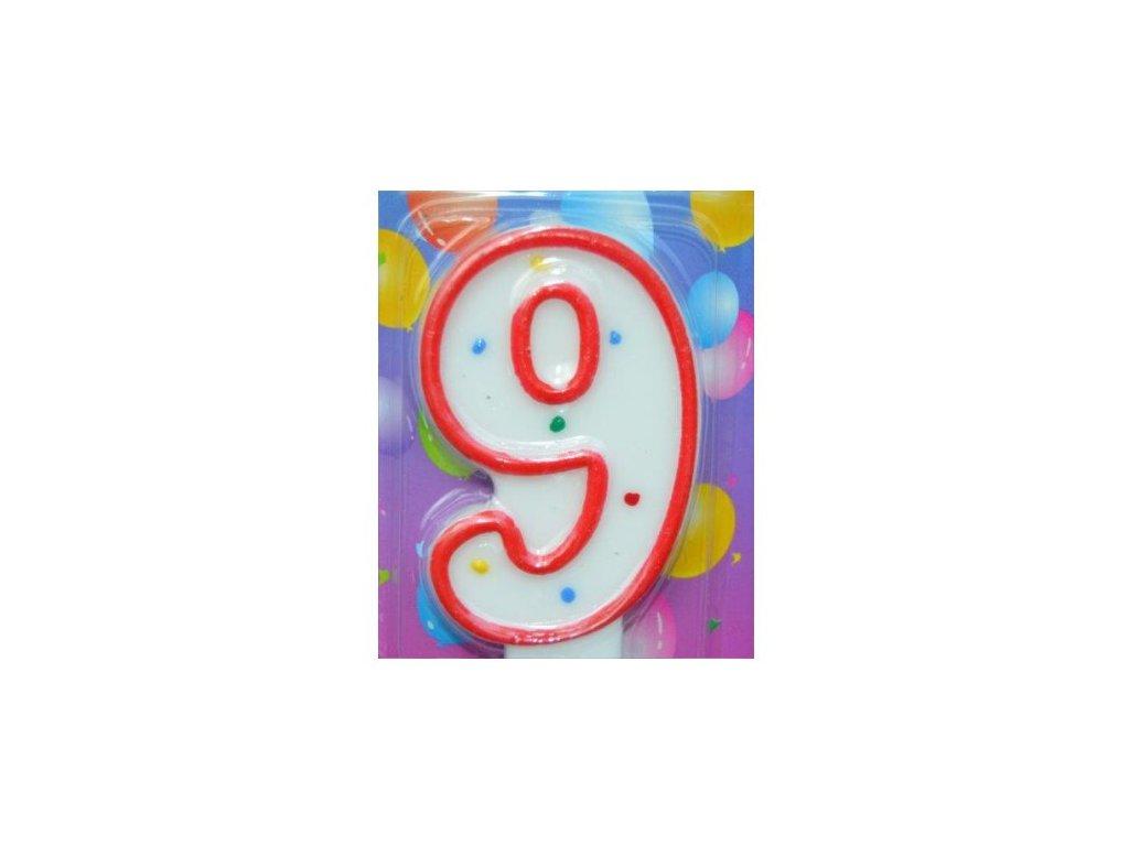 Svíčka číslice BAREVNÁ - 9