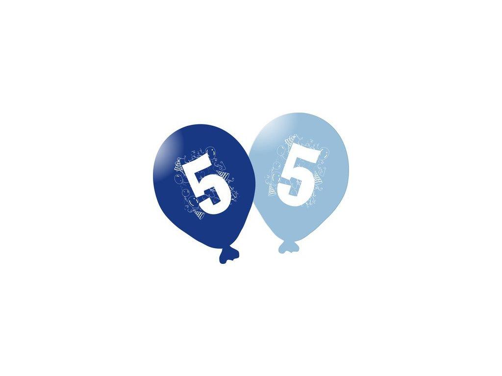 Balonky narozeninové 5ks modré - číslo 5
