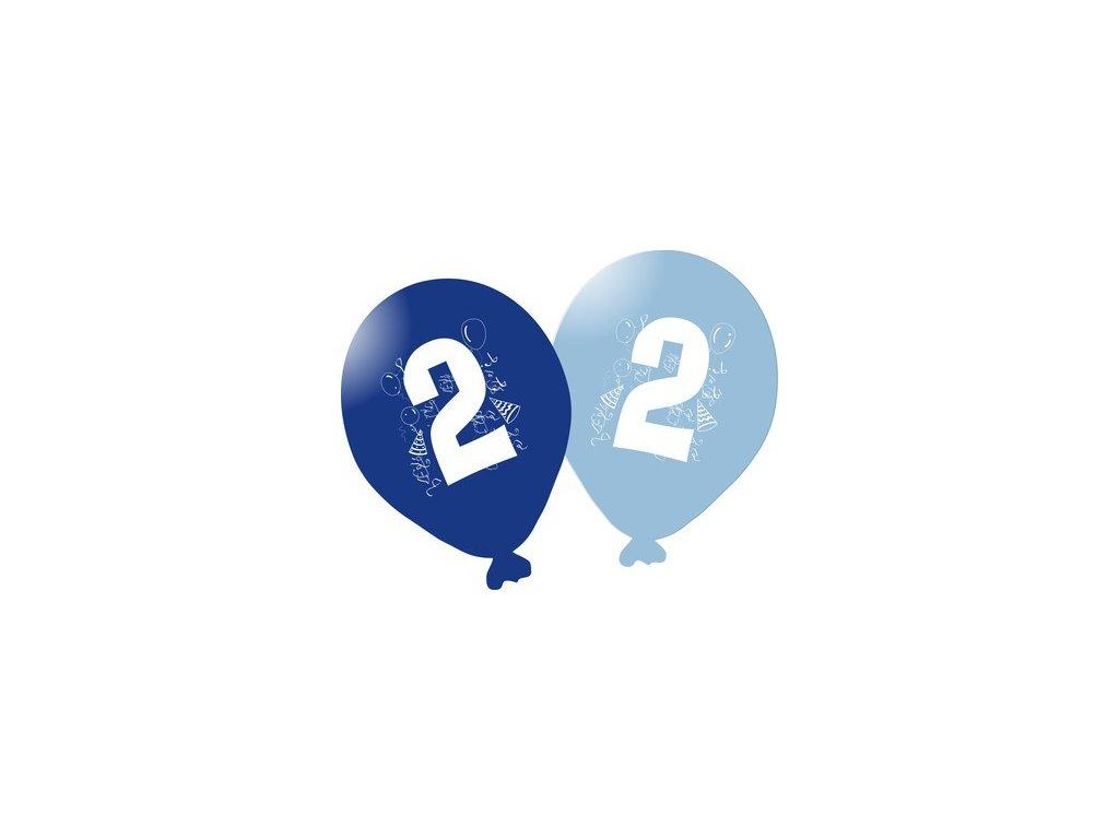 Balonky narozeninové 5ks modré - číslo 2