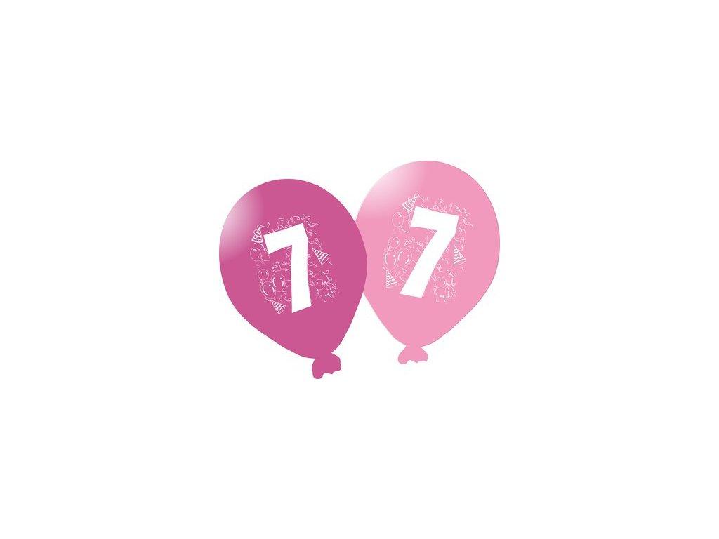 Balonky narozeninové 5ks růžové - číslo 7