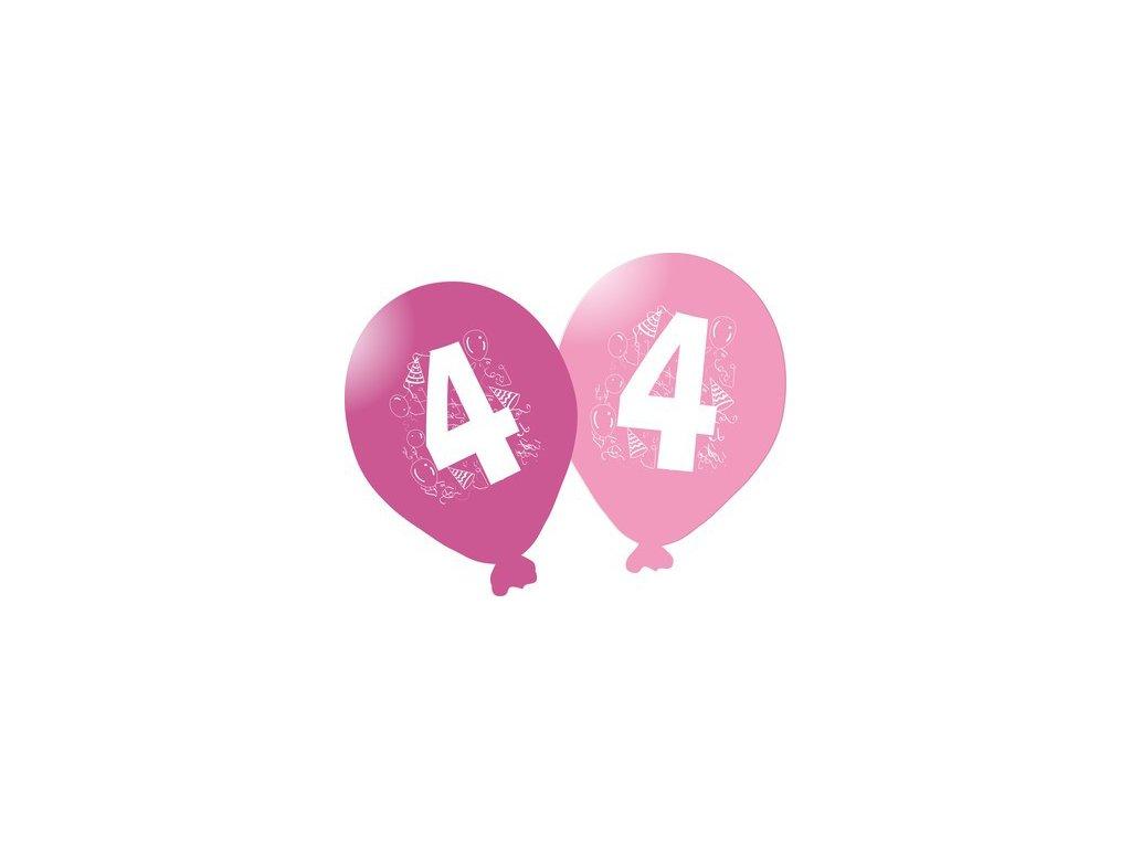 Balonky narozeninové 5ks růžové - číslo 4