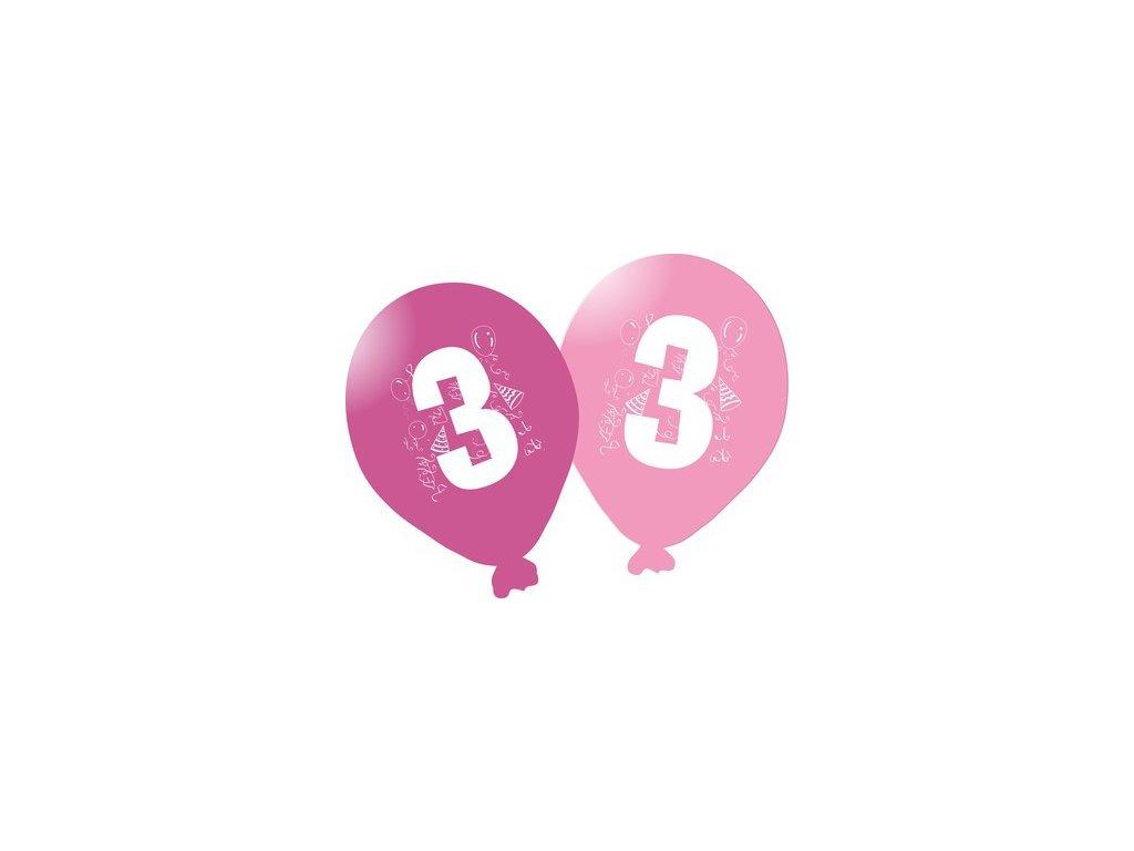 Balonky narozeninové 5ks růžové - číslo 3