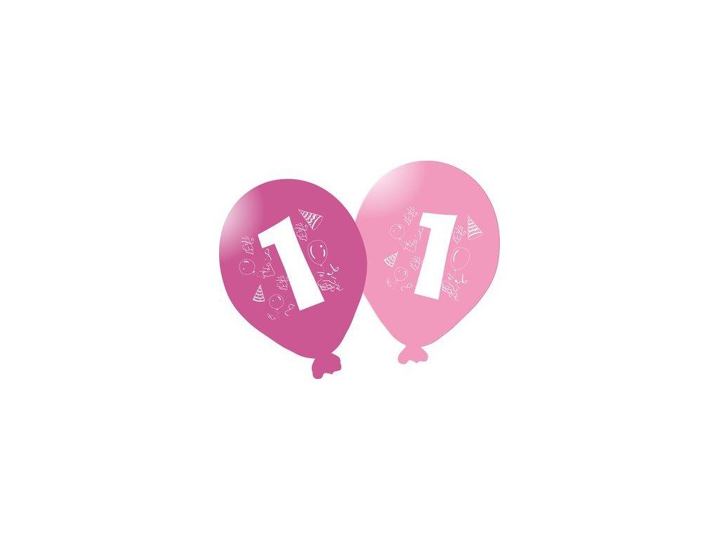 Balonky narozeninové 5ks růžové - číslo 1