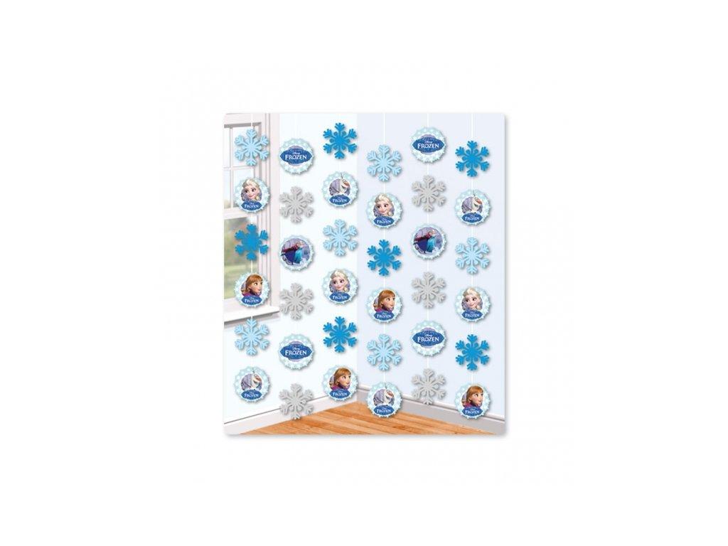 Závěsná dekorace s vločkami 6 ks - Frozen Ledové království