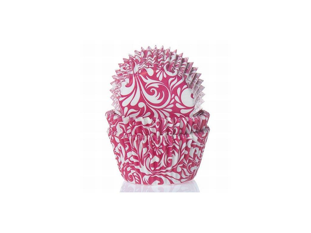 Košíčky velké FunCakes 50ks - růžové s bílým vzorem