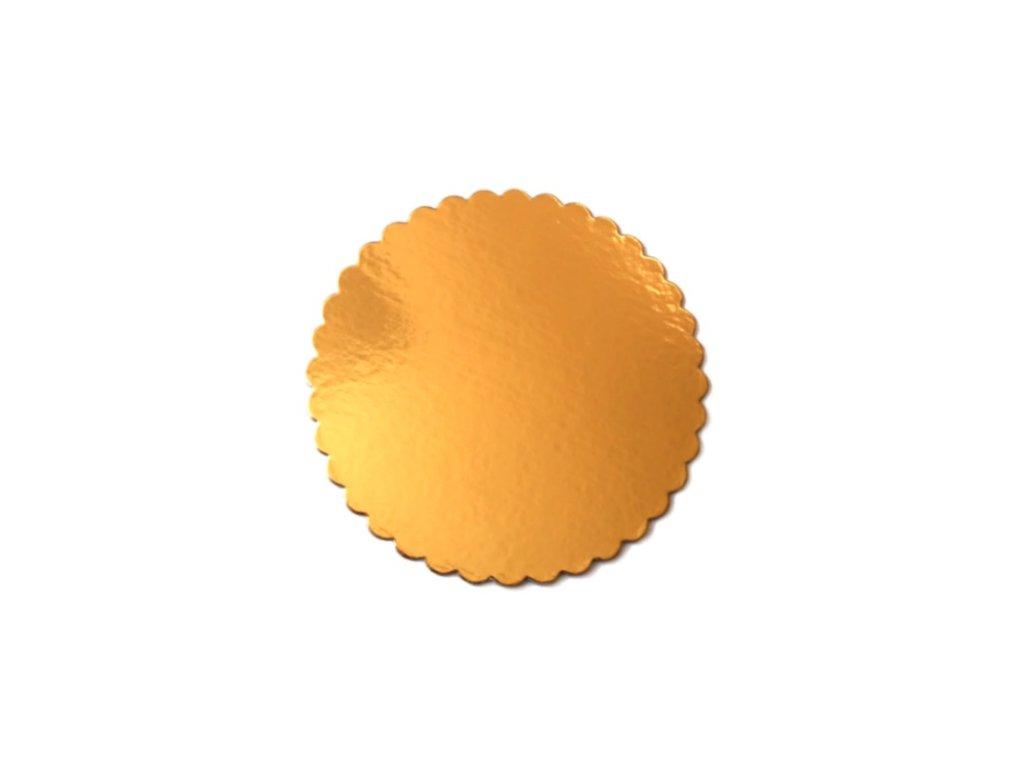 Zlatá podložka SILNĚJŠÍ - vlnitý okraj - 24 cm - balení 2 ks