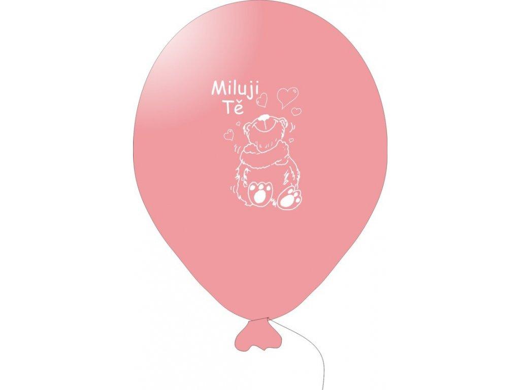 Balónky s nápisem MILUJI TĚ 5 ks - růžové