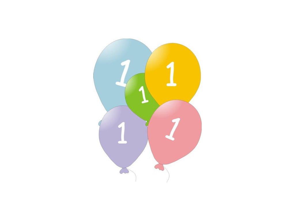Narozeninové balónky 5 ks mix barev - číslo 1
