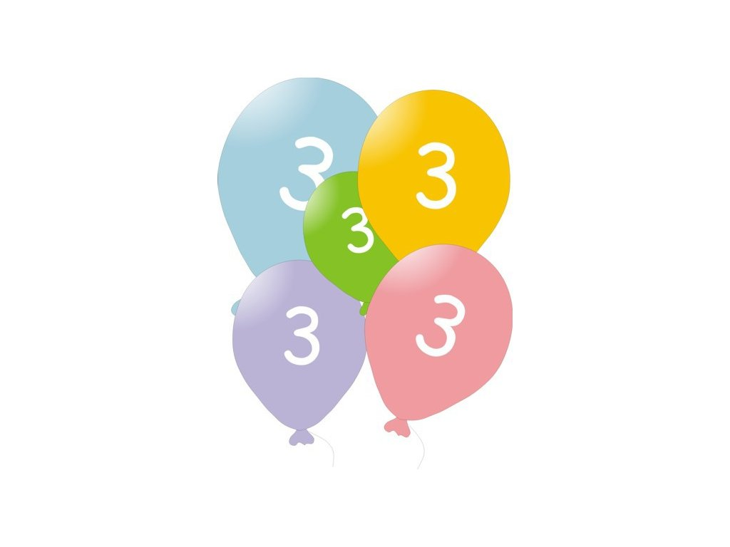Narozeninové balónky 5 ks mix barev - číslo 3