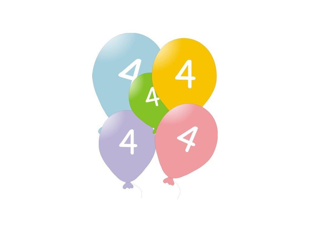 Narozeninové balónky 5 ks mix barev - číslo 4
