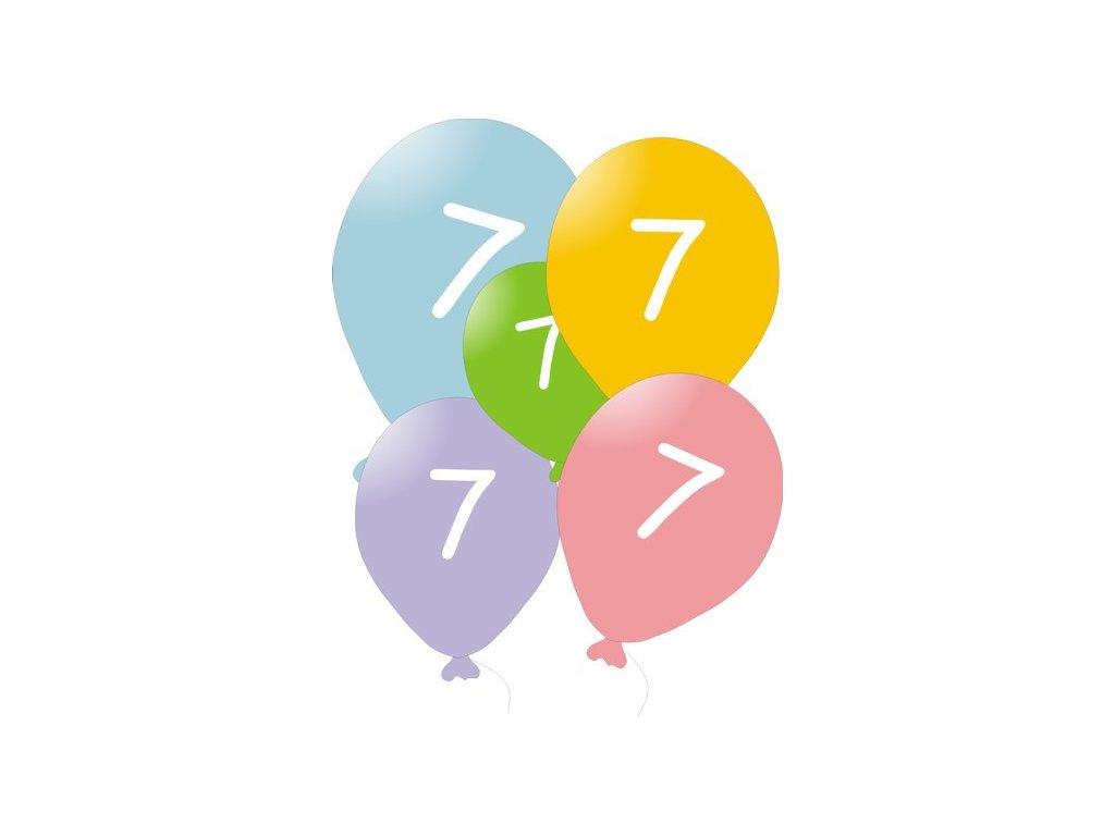 Narozeninové balónky 5 ks mix barev - číslo 7