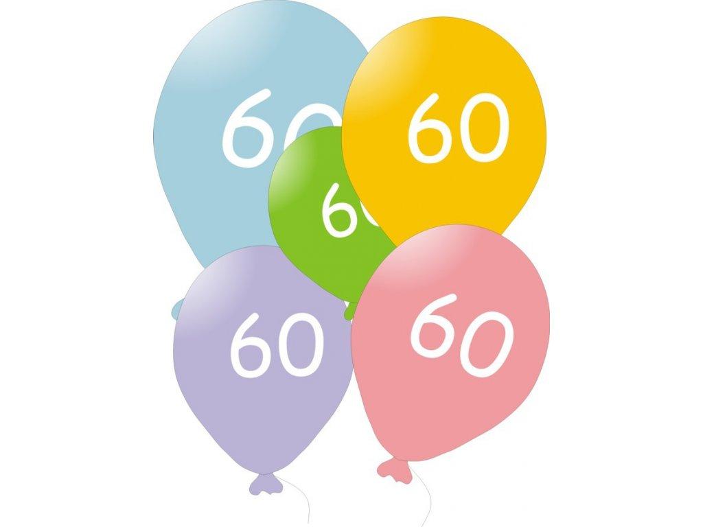 Narozeninové balónky 5 ks mix barev - číslo 60