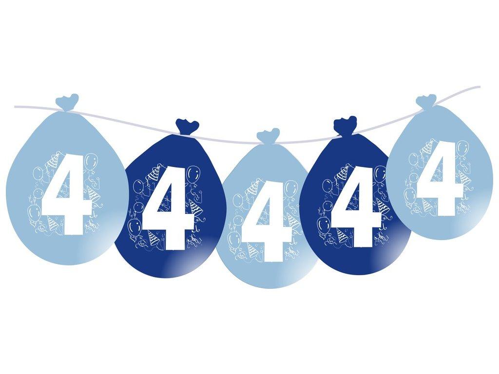 Balónky narozeninové VISÍCÍ 5 ks - modré - číslo 4