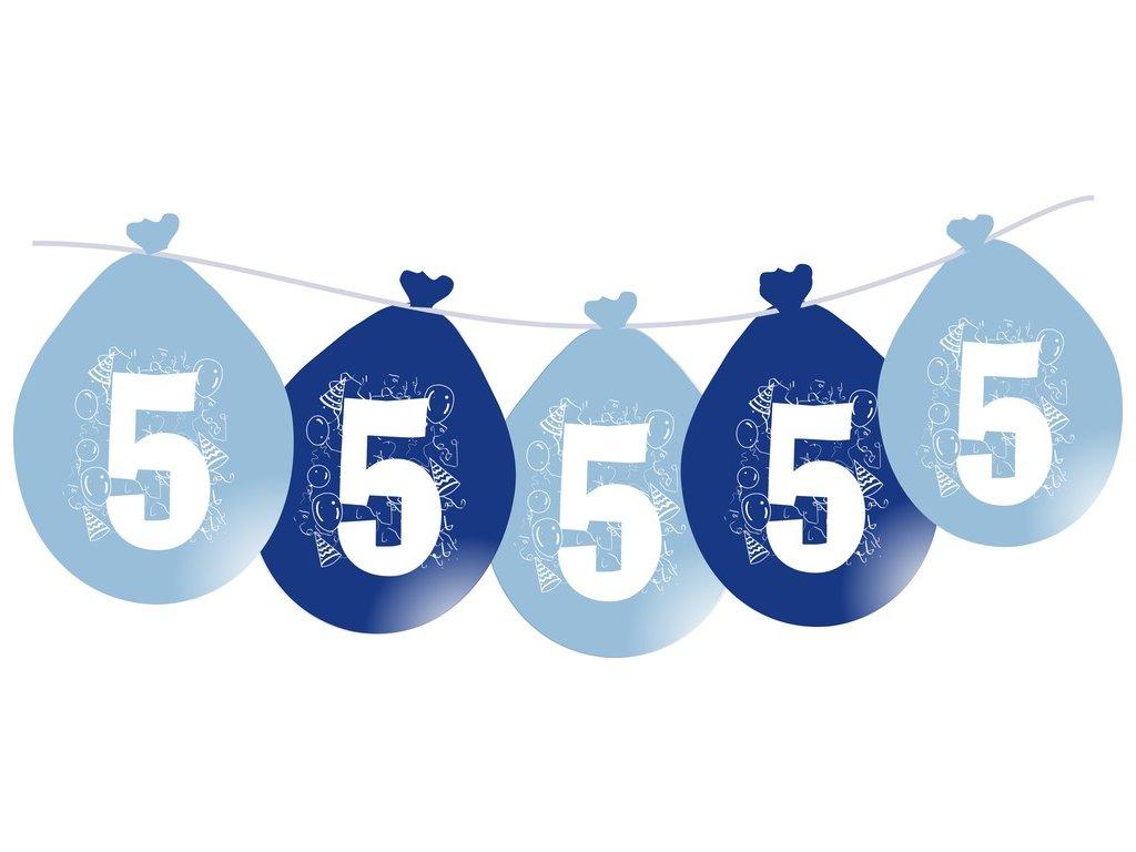 Balónky narozeninové VISÍCÍ 5 ks - modré - číslo 5
