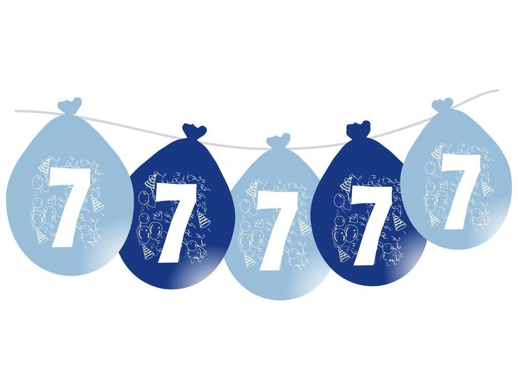 Balónky narozeninové VISÍCÍ 5 ks - modré - číslo 7