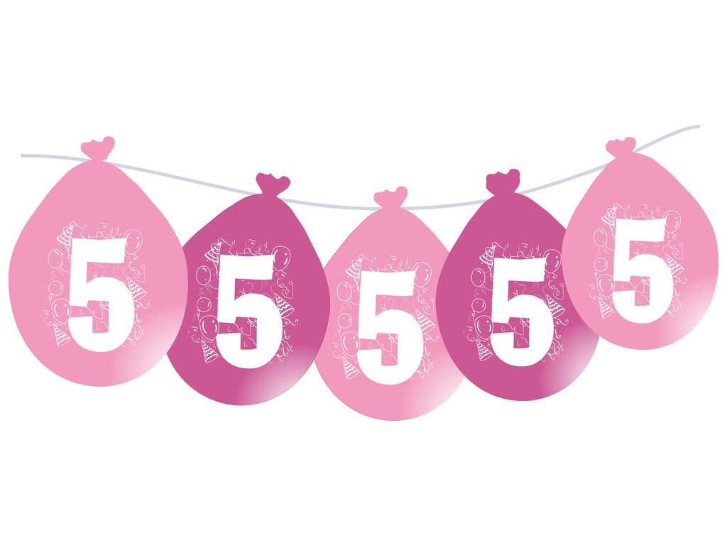 Balónky narozeninové VISÍCÍ 5 ks - růžové - číslo 5