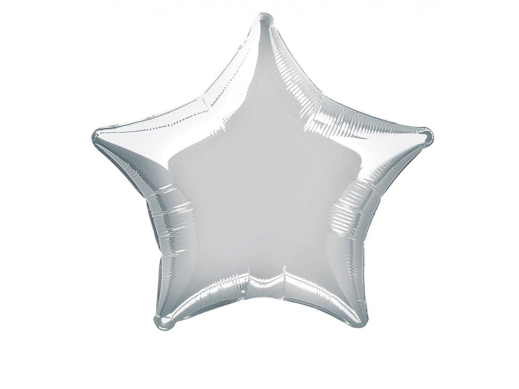 Balónek fóliový velký - hvězda matná stříbrná