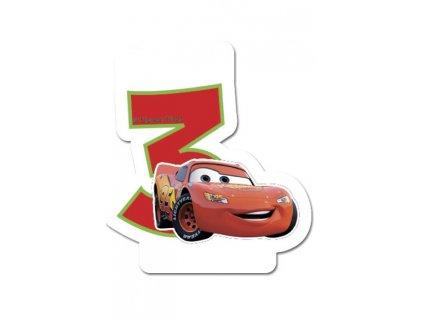 Dortová svíčka CARS s číslem - 3