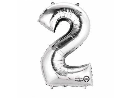 Balónek narozeninový MALÝ - stříbrný - číslo 2