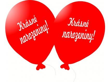 Balónky 5 ks s nápisem - Krásné narozeniny! - červené