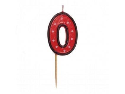 Dortová svíčka číslice ČERVENÁ s puntíky - 0