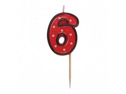 Dortová svíčka číslice ČERVENÁ s puntíky - 6