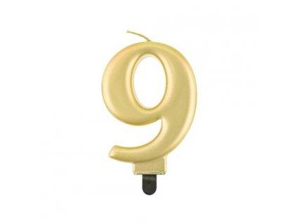 0014778 svicka narozeninova cislice 9 metalicka zlata 510