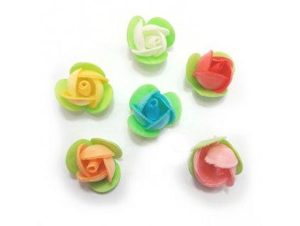 Dortové růže menší 6 ks mix barev