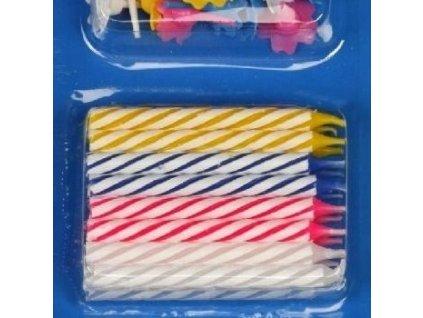 Dortové svíčky barevné 24 ks