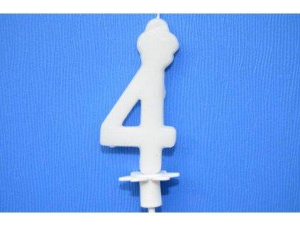 Dortová svíčka číslice bílá - 4