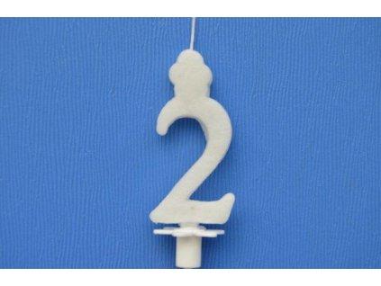 Dortová svíčka číslice bílá - 2