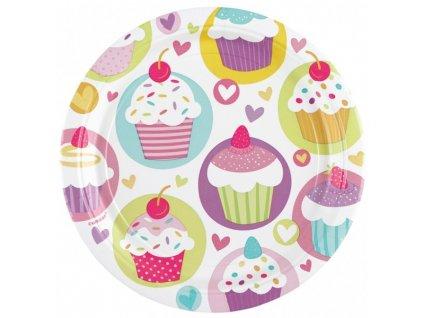 Party talíře 8 ks - motiv dortíky