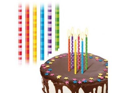 Svíčky velké Delícia 12 ks - pruhované
