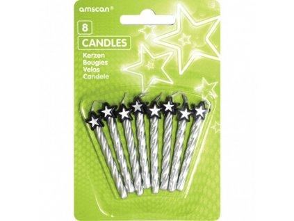 Svíčky Amscan 8 ks - stříbrné s hvězdou