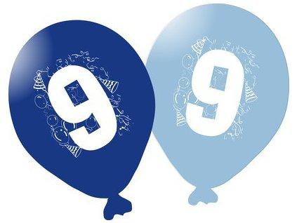 Balonky narozeninové 5ks modré - číslo 9