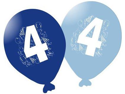 Balonky narozeninové 5ks modré - číslo 4