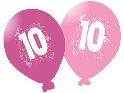 Balonky narozeninové 5ks růžové - číslo 10