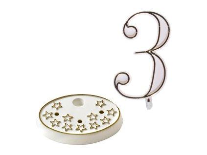 Číslice na dort s podstavcem - 3