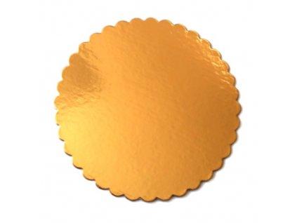 Zlatá podložka SILNĚJŠÍ - vlnitý okraj - 26 cm - balení 2 ks