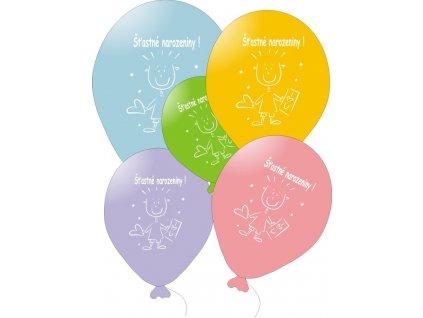 Balónky barevné Šťastné narozeniny - 5 ks