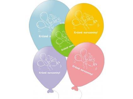 Balónky barevné Krásné narozeniny - s andílkem - 5 ks