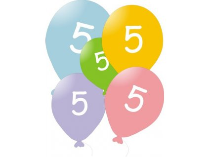 Narozeninové balónky 5 ks mix barev - číslo 5
