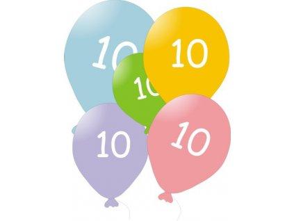 Narozeninové balónky 5 ks mix barev - číslo 10
