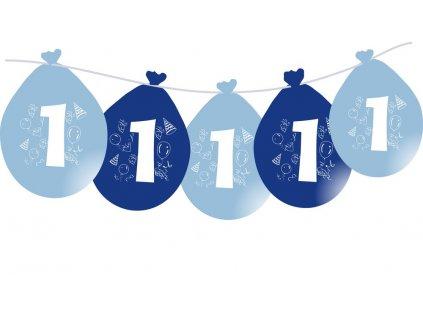 Balónky narozeninové VISÍCÍ 5 ks - modré - číslo 1