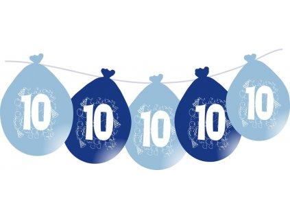 Balónky narozeninové VISÍCÍ 5 ks - modré - číslo 10
