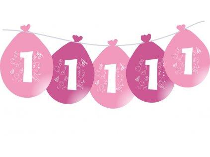 Balónky narozeninové VISÍCÍ 5 ks - růžové - číslo 1