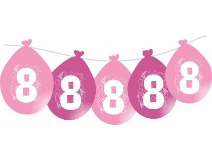 Balónky narozeninové VISÍCÍ 5 ks - růžové - číslo 8