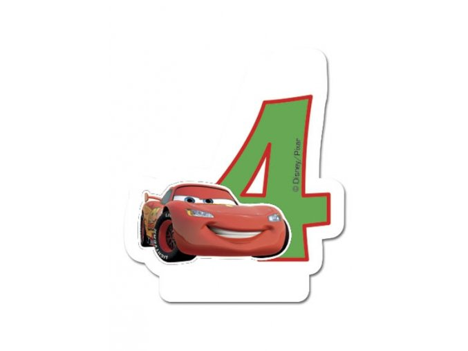 Dortová svíčka CARS s číslem - 4