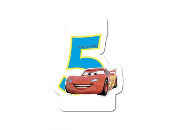 Dortová svíčka CARS s číslem - 5