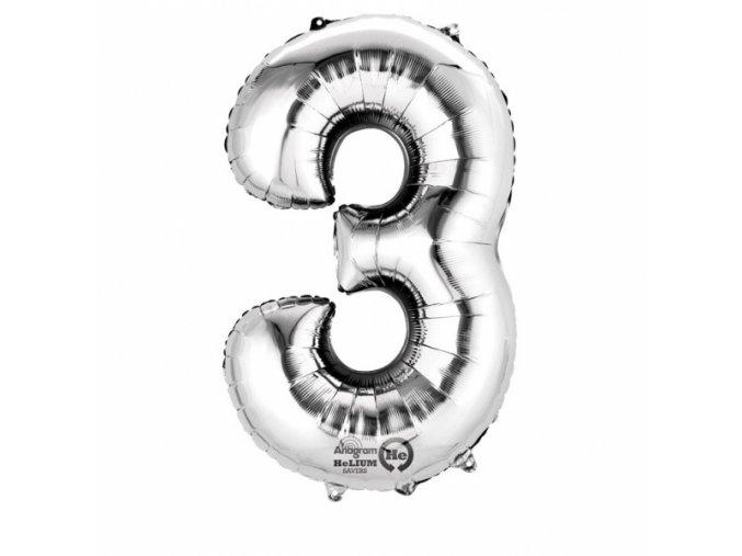 Balónek narozeninový velký - stříbrný - číslo 3